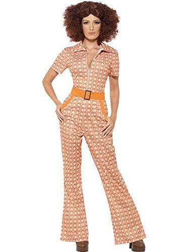 Authentic 70s Chic Costume, Orange, with Jumpsuit -  (Size: UK Dress 20-22)
