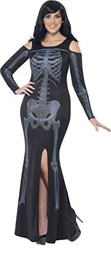 Curves Skeleton Costume, Black, with Dress -  (Size: UK Dress 20-22)
