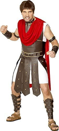 "Centurion Costume, Brown, Robe & Legs, Arms, Wrists & Neck Armour -  (Size: Chest 38""-40"", Leg Inseam 32.75"")"