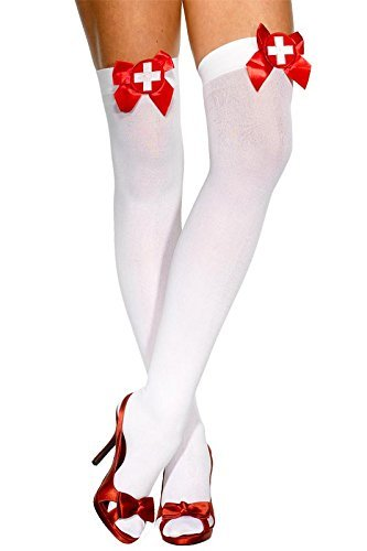 Opaque Hold-Ups, White, with Red Bows and Cross Applique -  (Size: UK Dress Size 6-14)