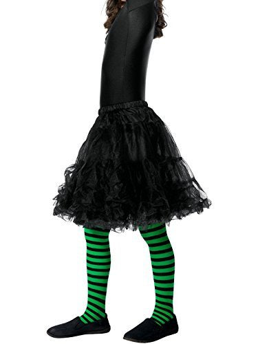 Wicked Witch Tights, Child, Green & Black -  (Size: Medium/Large Age 8-12)