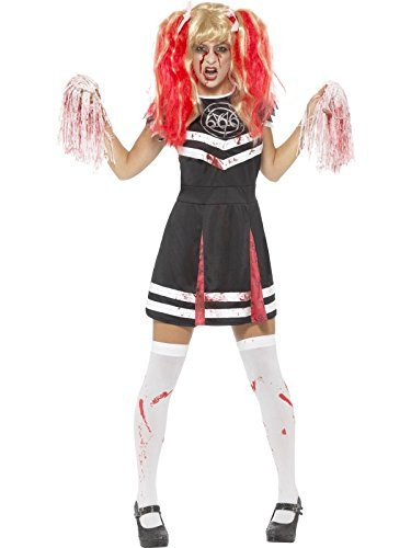 Satanic Cheerleader Costume, Black, with Dress & Pom Poms -  (Size: UK Dress 4-6)