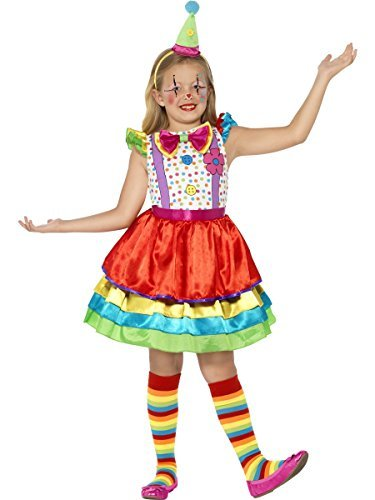 Deluxe Clown Girl Costume, with Dress & Hat -  (Size: Large Age 10-12)