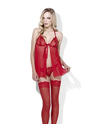 Fever Scarlet, Sweet Dreams, Red, Sheer Babydoll with Thong -  (Size: UK Dress 20-22)