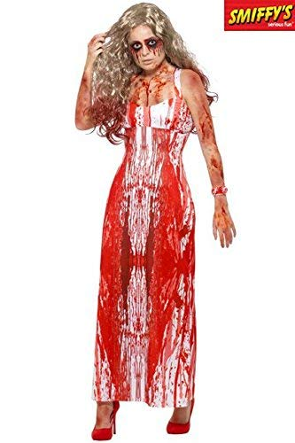Bloody Prom Queen Costume, White & Red, with Dress & Wrist Corsage -  (Size: UK Dress 12-14)
