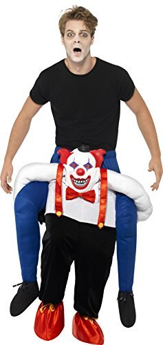 Piggyback Sinister Clown Costume, Blue, One Piece Suit with Mock Legs