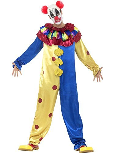 "Goosebumps Clown Costume, Multi-Coloured, Jumpsuit with Latex Wig Cap and Red Nose -  (Size: Chest 38""-40"", Leg Inseam 32.75"")"