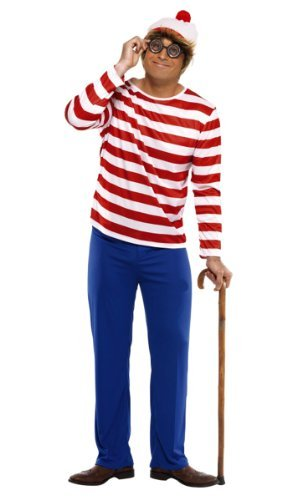 "Where's Wally? Costume, Red & White, with Top, Trousers, Glasses & Hat -  (Size: Chest 42""-44"", Leg Inseam 33"")"