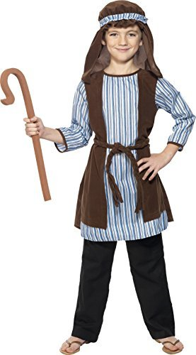 - Shepherd Costume, Blue & Brown, with Robe, Headpiece & EVA Staff -  (Size: Medium Age 7-9) COST-M