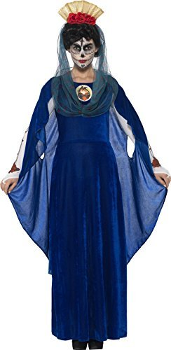 Day of the Dead Sacred Mary Costume, Blue, with Dress, 3D Print Heart, Headband & Hood -  (Size: UK Dress 8-10)