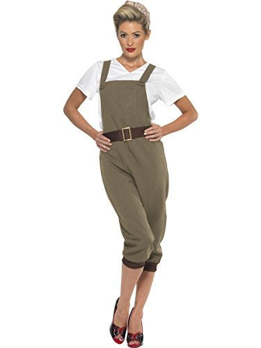 WW2 Land Girl Costume, Khaki, with Top, Dungarees and Headscarf -  (Size: UK Dress 8-10)