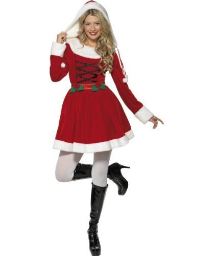 Miss Santa Costume, Red, with Dress -  (Size: UK Dress 8-10)