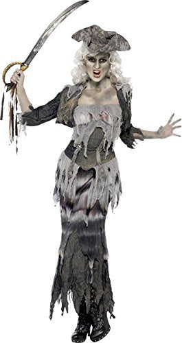 Ghost Ship Ghoulina Costume, Grey, with Top, Skirt, Jacket & Hat -  (Size: UK Dress 12-14)