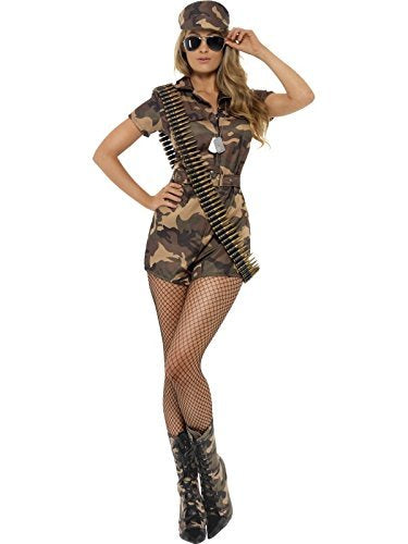 Army Girl Sexy Costume, Camouflage, with Shorts Jumpsuit, Belt & Hat -  (Size: UK Dress 20-22)