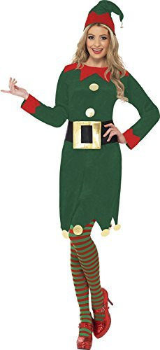 Elf Costume, Green, with Dress, Hat & Belt -  (Size: UK Dress 12-14)