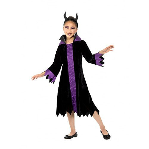 Evil Queen Costume, Black & Purple, with Dress & Headband -  (Size: Large Age 10-12)