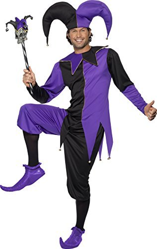 "Medieval Jester Costume, Purple, Top with Attached Neck Piece, Trousers and Hat -  (Size: Chest 38""-40"", Leg Inseam 32.75"")"