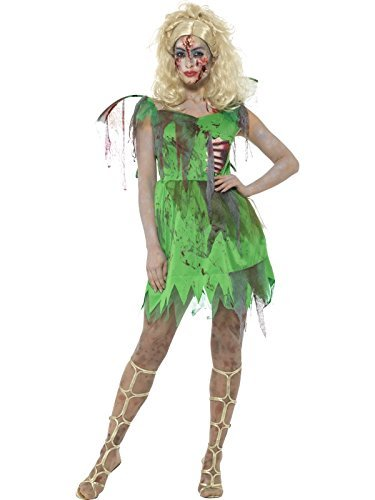 Zombie Fairy Costume, Green, with Dress, Attached Latex Ribs & Wings -  (Size: UK Dress 4-6)