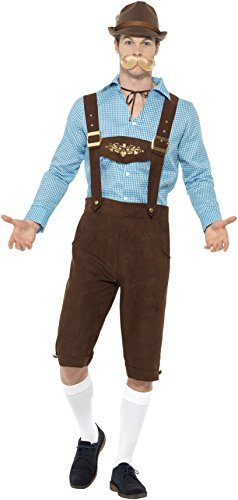 Beer Fest Costume, Blue & Brown, with Shirt & Mock Suede Lederhosen -  (Size: Chest 46`-48` / Waist 40`-42` / Leg Inseam 33.25`)