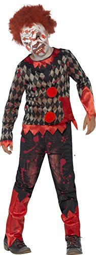 Deluxe Zombie Clown Costume, Red & Green, with Latex Mask, Top & Trousers -  (Size: Medium Age 7-9)