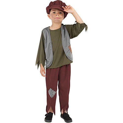 Victorian Poor Boy Costume, Green, with Top, Trousers & Hat -  (Size: Small Age 4-6)