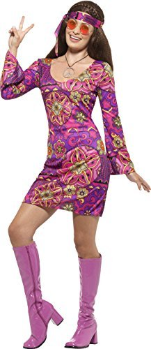 - Hippie Chick Costume, Multi-Coloured, with Dress, Headscarf & Medallion -  (Size: UK Dress 20-22) COST-W