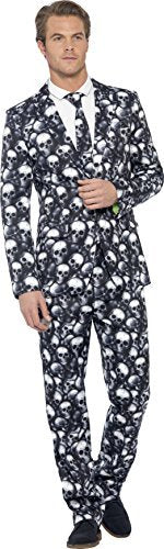 "Skeleton Suit, Black & White, with Jacket, Trousers & Tie -  (Size: Chest 38""-40"", Leg Inseam 32.75"")"