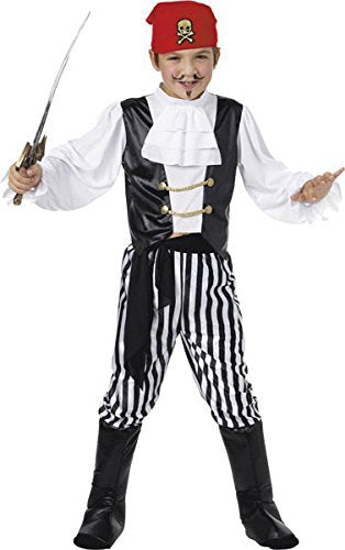 Pirate Costume, Black & White, Shirt, Trousers, Boot Covers, Headscarf, Belt -  (Size: Medium Age 7-9)