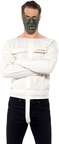 Silence of the Lambs Kit, White, with Straitjacket & Mask -  (Size: Chest 38`-40`, Leg Inseam 32.75`)