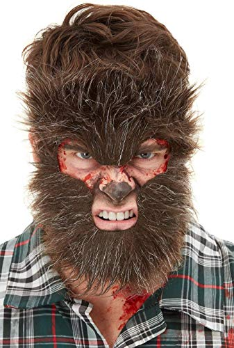 - Smiffys Make-Up FX, Werewolf Face Fur, Brown on Elastic