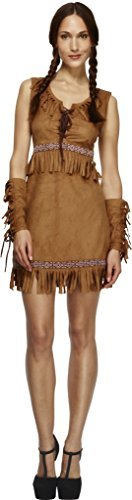 Fever Pocahontas Costume, Brown, with Dress and Arm Cuffs -  (Size: UK Dress 12-14)