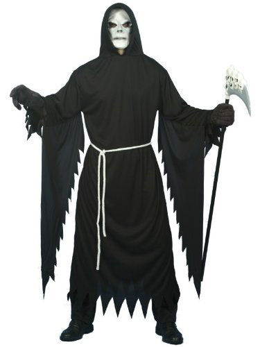 "Grim Reaper Costume, Black, with Hooded Robe, Mask & Belt -  (Size: Chest 38""-40"", Leg Inseam 32.75"")"