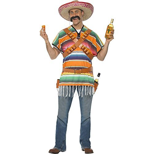 Tequila Shooter Guy Costume, Orange & Green, with Poncho, Belt & Bandolier