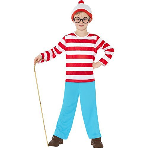 Where's Wally? Costume, Red & White, with Top, Trousers, Glasses & Hat -  (Size: Large Age 10-12)