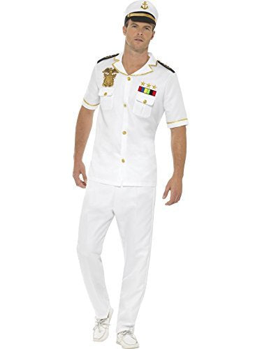 "- Captain Costume, White, with Top, Trousers & Hat -  (Size: Chest 42""-44"", Leg Inseam 33"") COST-M"