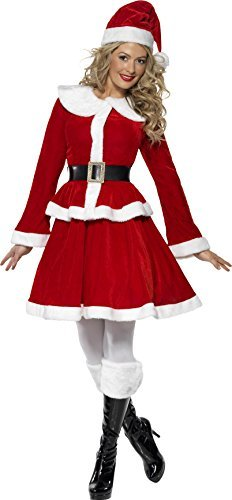 Miss Santa Costume, Red, with Jacket, Skirt, Hat, Belt & Muff -  (Size: UK Dress 20-22)