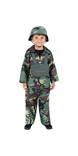 Army Boy Costume, Camouflage, with Top, Trousers & Backpack -  (Size: Medium Age 7-9)