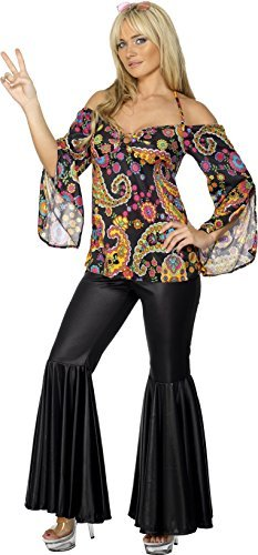 Hippie Costume, Female, Black, with Patterned Top and Flared Trousers -  (Size: UK Dress 12-14)