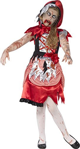 Zombie Miss Hood Costume, Red, with Dress & Hooded Cape -  (Size: Large Age 10-12)