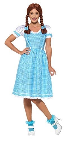 Kansas Country Girl Costume, Blue & White, with Dress & Hair Bows -  (Size: UK Dress 8-10)