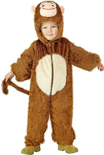 Monkey Costume, Brown, includes Jumpsuit with Hood -  (Size: Small Age 4-6)
