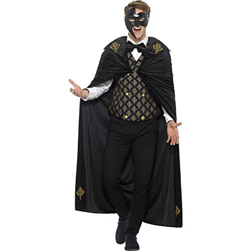 Deluxe Phantom Costume, Black & Gold, with Cloak, Waistcoat & Bow Tie -  (Size: Chest 42`-44` / Waist 36`-38` / Leg Inseam 33`)