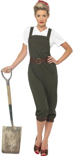 WW2 Land Girl Costume, Green, Top, Dungarees and Headscarf -  (Size: UK Dress 12-14)