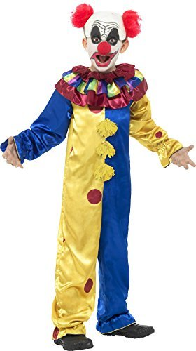 Goosebumps The Clown Costume, Multi-Coloured Jumpsuit with Latex Wig Cap & Red Nose -  (Size: Large Age 10-12)