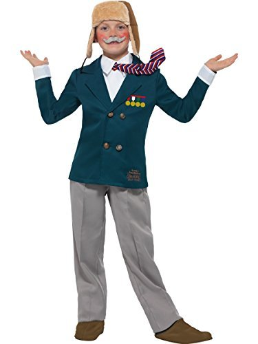 David Walliams Deluxe Grandpa`s Great Escape, Blue, with Jacket & Mock Shirt with Tie, Trousers, Flying Hat & Moustache -  (Size: Medium Age 7-9)