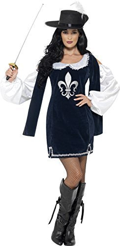 Musketeer Female Costume, Navy, with Dress & Hat -  (Size: UK Dress 12-14)