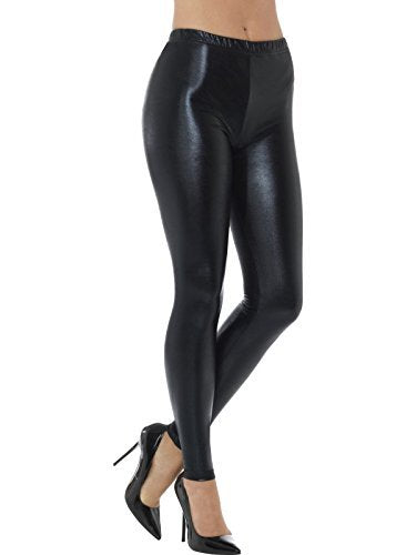 80s Metallic Disco Leggings, Black -  (Size: UK Dress 8-10)