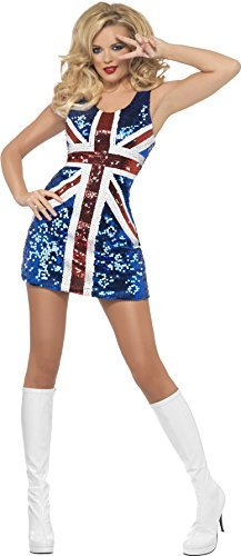 Fever All that Glitters Rule Britannia Costume, Blue, includes Sequined Union Jack Dress -  (Size: UK Dress 12-14)