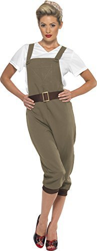 WW2 Land Girl Costume, Khaki, with Top, Dungarees and Headscarf -  (Size: UK Dress 12-14)