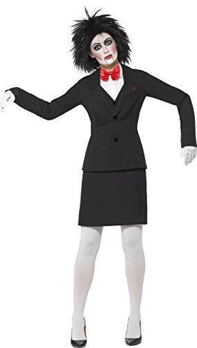 Saw Jigsaw Costume, Black, Jacket, Shirt, Skirt, Bow Tie, Gloves & Make-Up -  (Size: UK Dress 12-14)